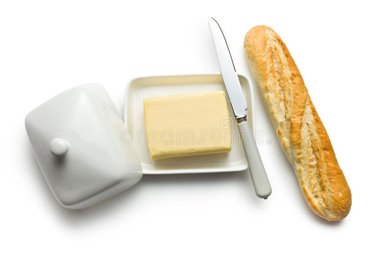 Baguette with butter royalty free stock photography