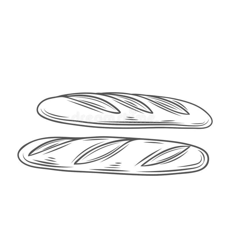 Baguette chleb, kontur ilustracja wektor