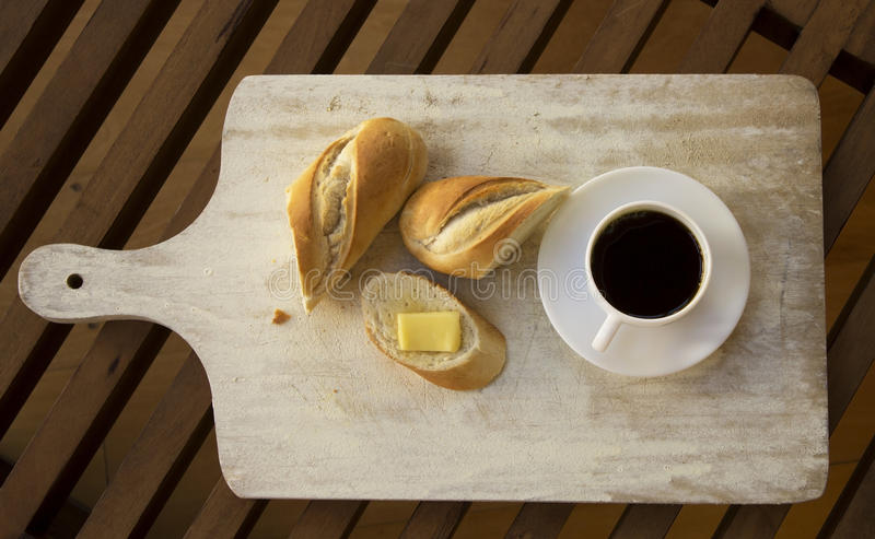 Baguette and coffee. stock photos