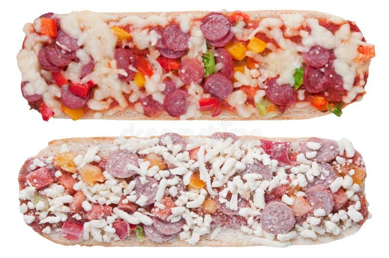 Baguette cozido e congelado da pizza imagem de stock