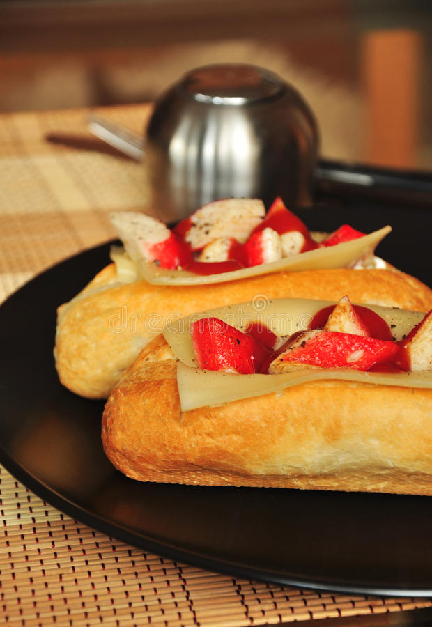 Baguette with crab sticks. From asia stock image