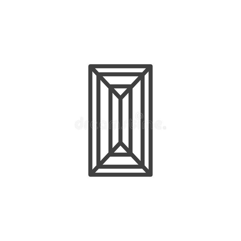Baguette diamentu linii ikona ilustracji