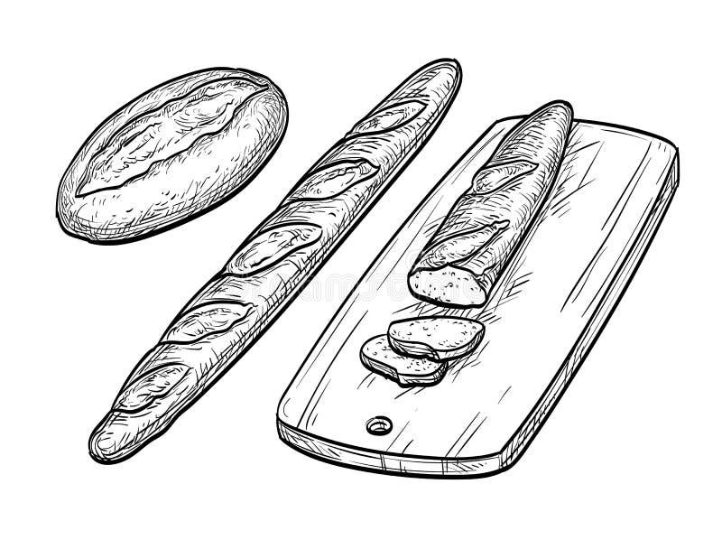 Baguette e pane rustico illustrazione vettoriale