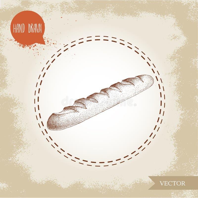 Baguette française fraîche Produit quotidien illustration de vecteur