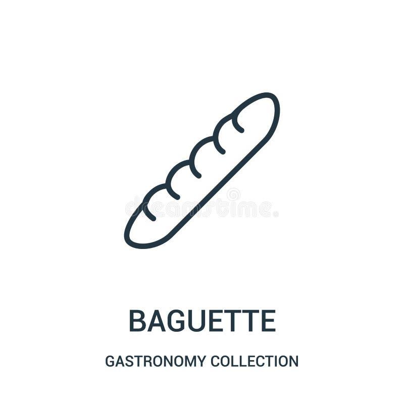baguette ikony wektor od gastronomy kolekcji kolekcji Cienka kreskowa baguette konturu ikony wektoru ilustracja royalty ilustracja