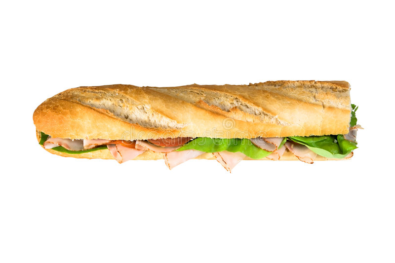 Baguette isolated. A delicious filed baguette isolated on white background royalty free stock photos
