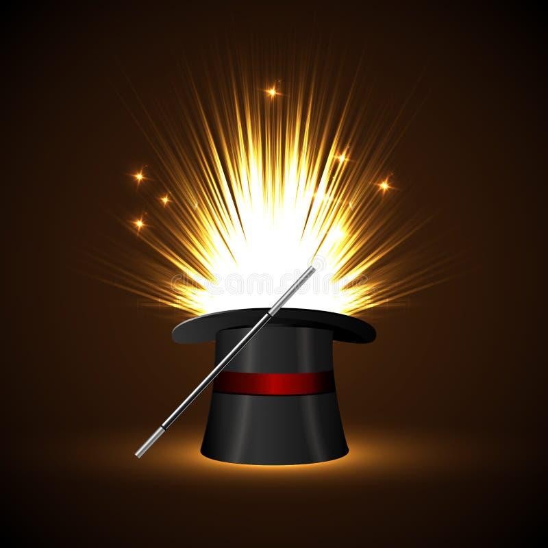 Baguette magique de fond et lueur magique illustration libre de droits