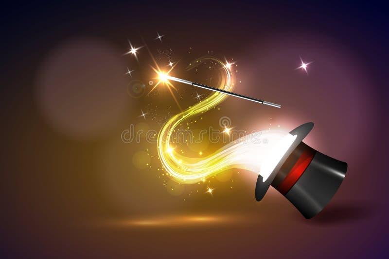Baguette magique de fond et lueur magique illustration de vecteur