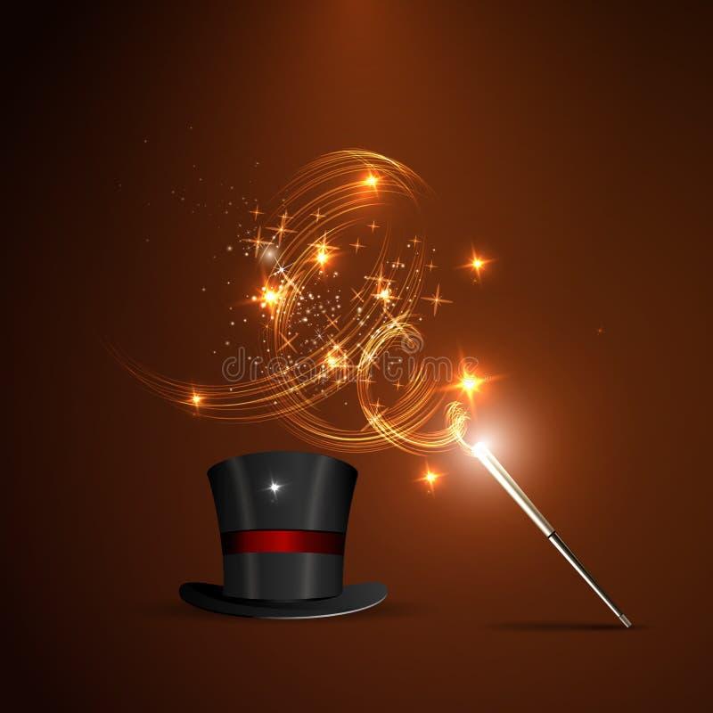 Baguette magique et chapeau magique illustration de vecteur