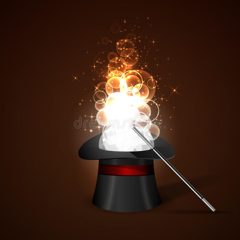 Baguette magique et chapeau magique illustration libre de droits