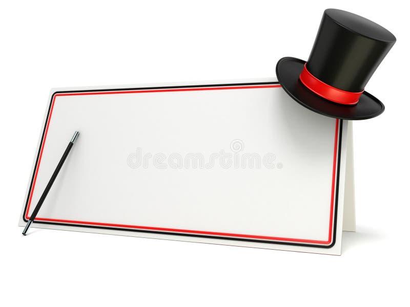 Baguette magique et chapeau magiques sur le conseil vide avec la frontière noire et rouge 3d rendent illustration libre de droits