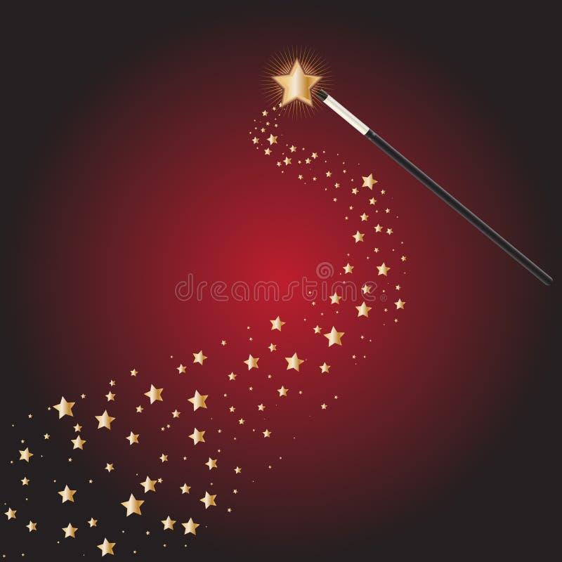 Baguette magique magique avec des journaux d'étoile illustration libre de droits