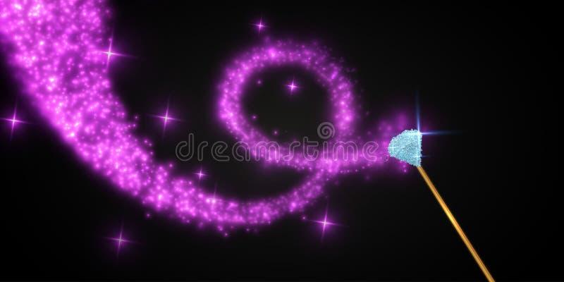 Baguette magique magique avec les étincelles lumineuses Illustration de vecteur illustration stock