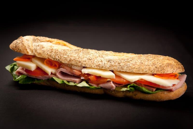 Baguette Sandwich. Fresh and Delicious Baguette Sandwich stock photos
