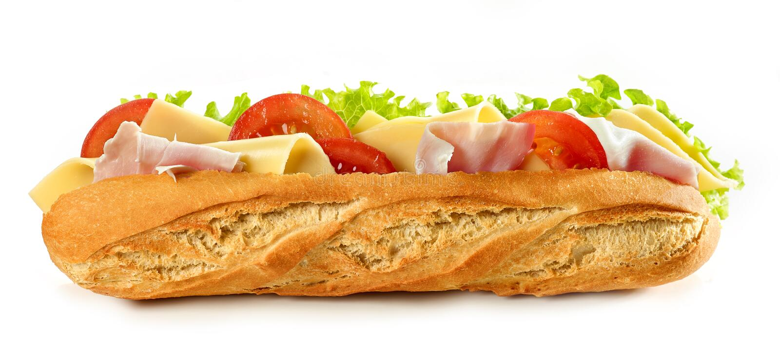Baguette sandwich isolated on white background royalty free stock photo