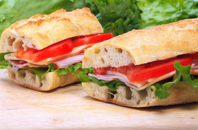 Baguette sandwiches royalty free stock photography