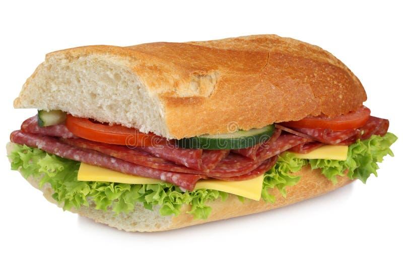 Baguette secundário do sanduíche com o presunto do salame para o café da manhã isolado imagem de stock