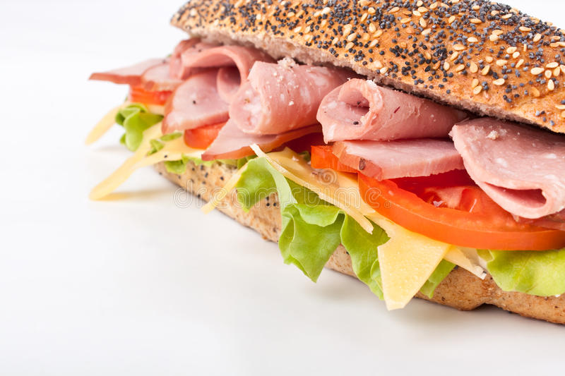 Download Baguette sub sandwich stock image. Image of plate, meal - 11930163