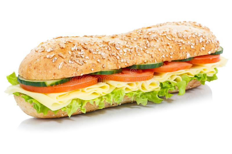 Baguette sub sandwich whole grain grains with cheese fresh isolated on white. Baguette sub sandwich whole grain grains with cheese fresh isolated on a white royalty free stock photography