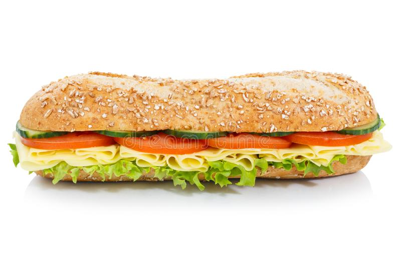 Baguette sub sandwich whole grains with cheese lateral isolated. On a white background royalty free stock image