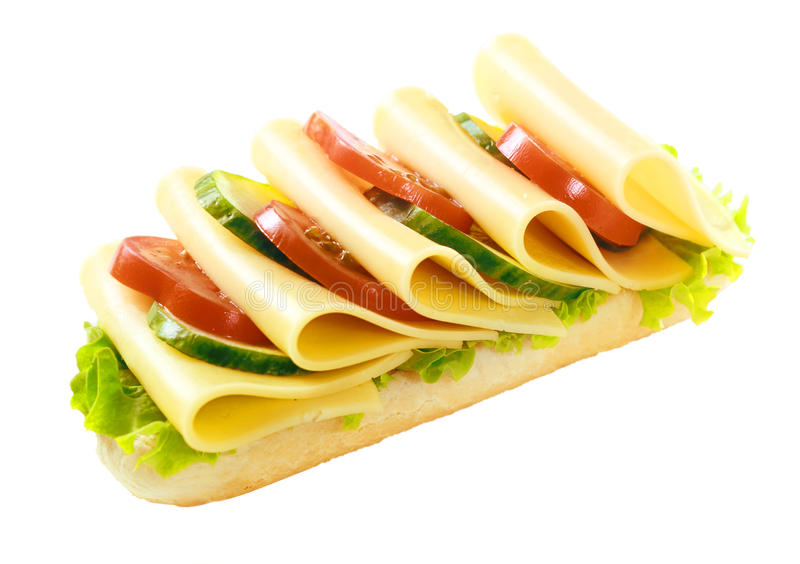 Baguette vegetariano sano del Gouda y de la ensalada fotos de archivo libres de regalías