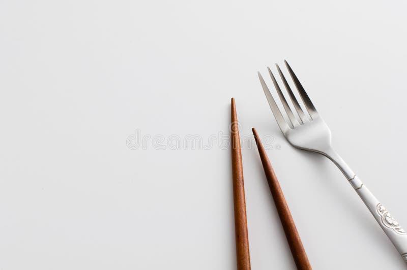 Baguettes et fourchette photo libre de droits