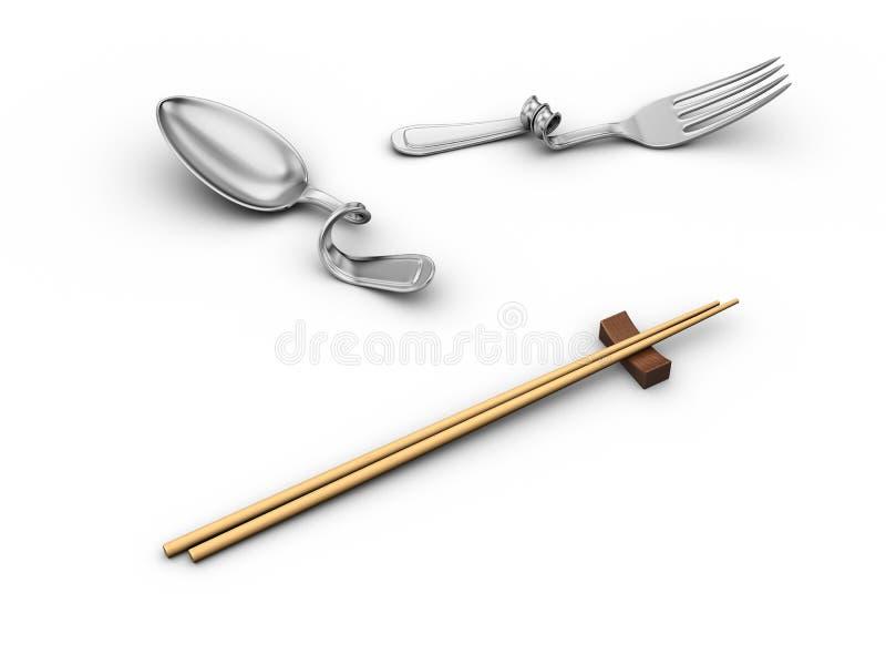 Baguettes et vaisselle de cuisine courbée illustration de vecteur