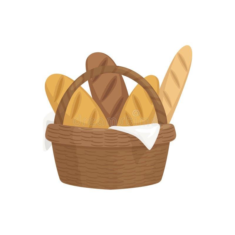 Baguettes frescos na cesta de madeira, ilustração cozida fresca do vetor do pão ilustração do vetor