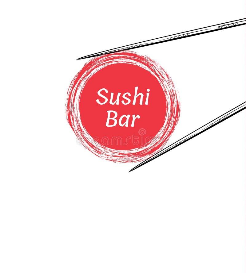 Baguettes tenant le cadre de petit pain de sushi images libres de droits