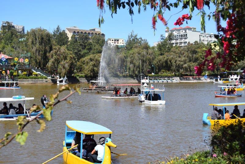 Baguio miasto, Baguio, Burnham jezioro, wodniactwo Burnham jezioro, Burnham park, Burnham parka rezerwacja, Benguet, Filipiny zdjęcia stock