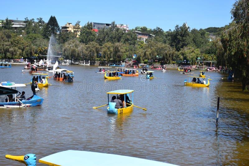 Baguio miasto, Baguio, Burnham jezioro, wodniactwo Burnham jezioro, Burnham park, Burnham parka rezerwacja, Benguet, Filipiny zdjęcie royalty free