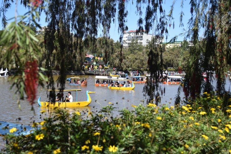 Baguio miasto, Baguio, Burnham jezioro, wodniactwo Burnham jezioro, Burnham park, Burnham parka rezerwacja, Benguet, Filipiny fotografia stock