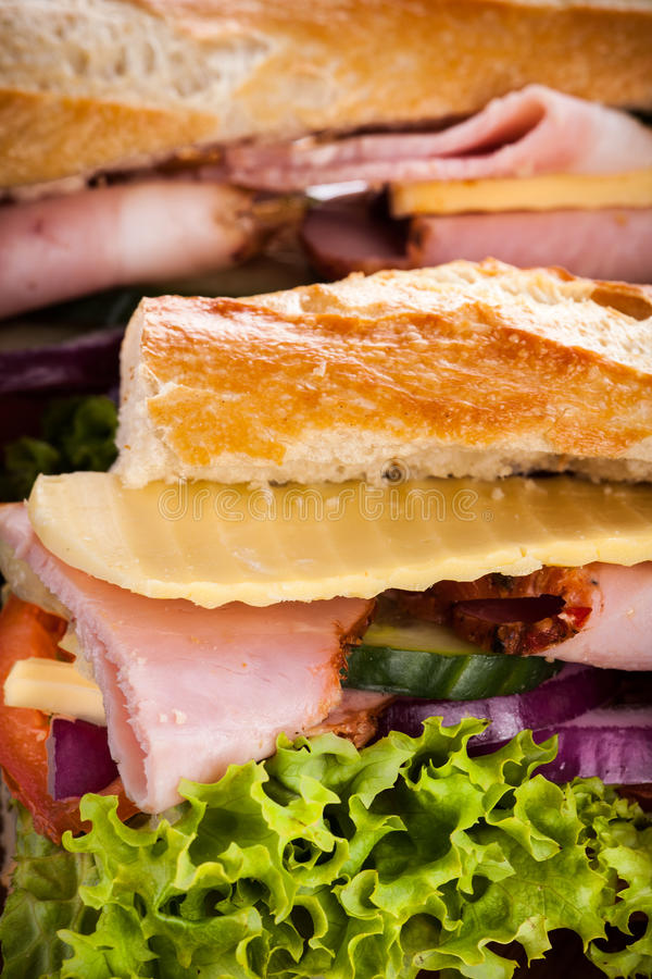 Bagutte with Ham and cheese stock image