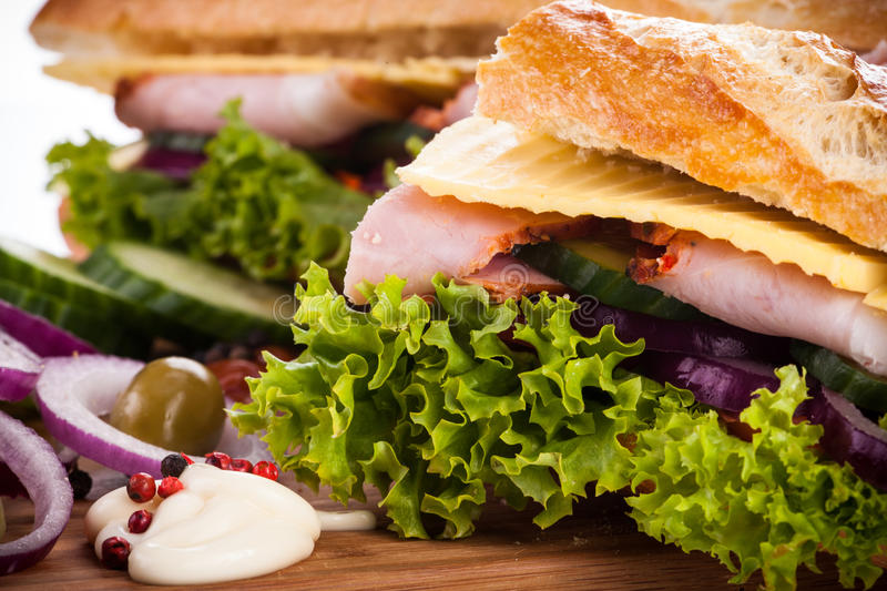 Bagutte with Ham and cheese royalty free stock photography