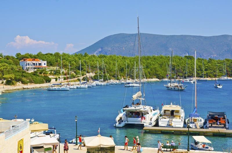 Bahía de Fiskardo, isla de Kefalonia, Grecia fotos de archivo libres de regalías