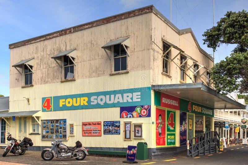Bahía de las islas, Nueva Zelandia La tienda cuadrada cuatro en Russell foto de archivo libre de regalías