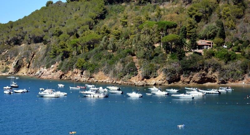 Bahía de Portoferraio, visión panorámica, Elba Island fotografía de archivo