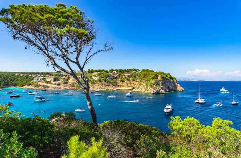 Bahía del mar Mediterráneo de los portales Vells con los yates, costa España de la isla de Majorca fotos de archivo libres de regalías