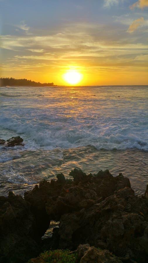 Bahía del norte de la tortuga de la puesta del sol de Hawaii de la orilla fotografía de archivo