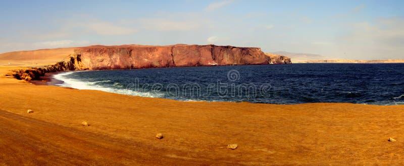 Bahía del panorama en Paracas fotografía de archivo