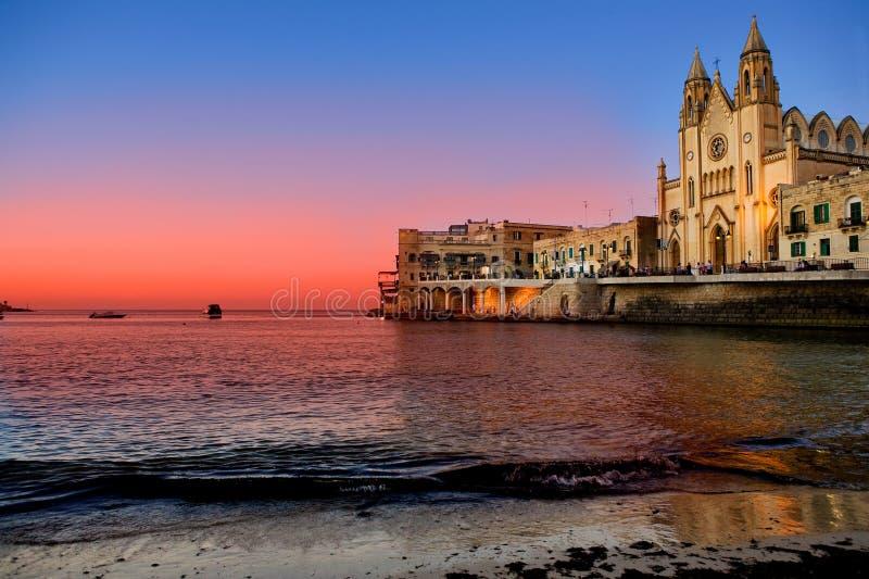 Bahía del St. Julians - Malta fotografía de archivo libre de regalías