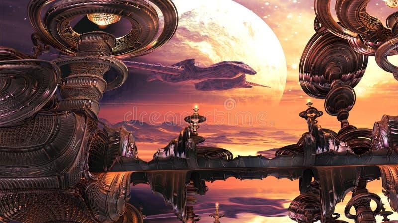 Bahía inminente del aterrizaje de la nave espacial extranjera libre illustration