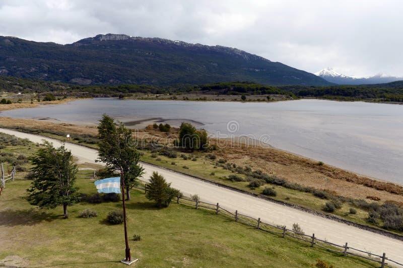 Bahía Lapataia en el parque nacional de Tierra del Fuego imagen de archivo