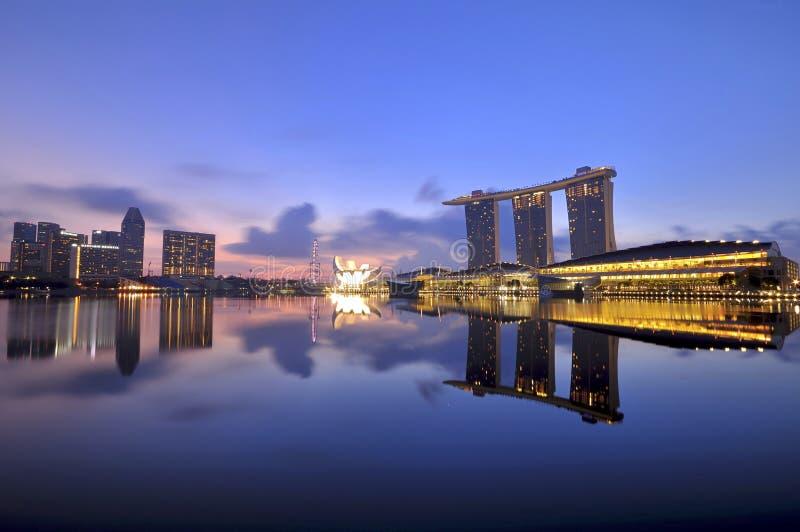 Bahía majestuosa del puerto deportivo de Singapur imágenes de archivo libres de regalías