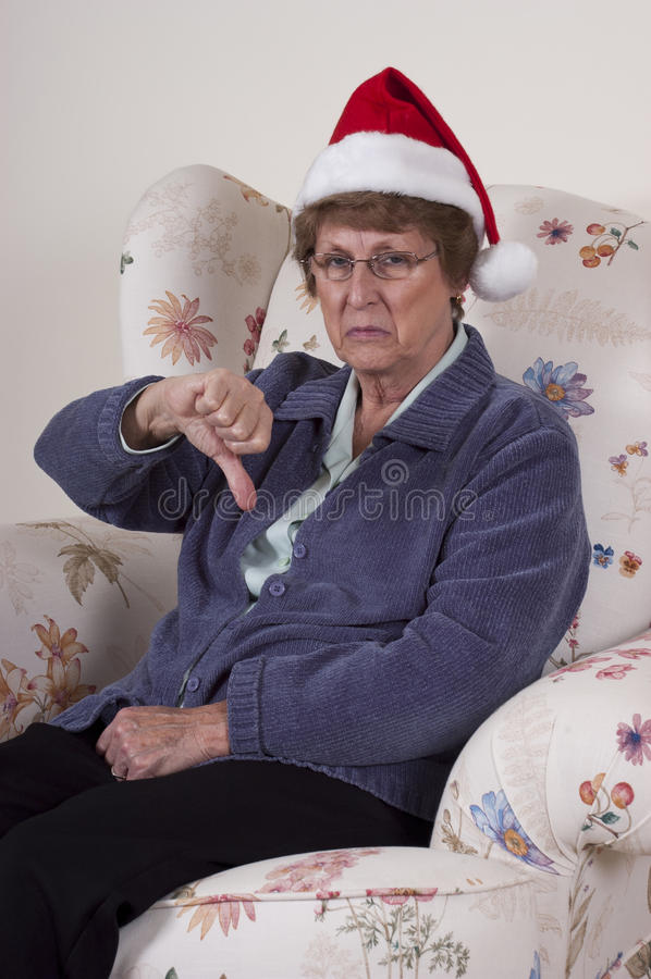 Bah Humbug Mature Senior Woman No Christmas Spirit stock photography