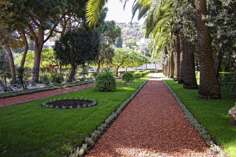 Baha'i garden in Haifa, Israel. Ornamental garden of the Baha'i Temple in Haifa, Israel. This temple in Haifa houses the tomb of the Bab, the herald of Bahaulla royalty free stock photography