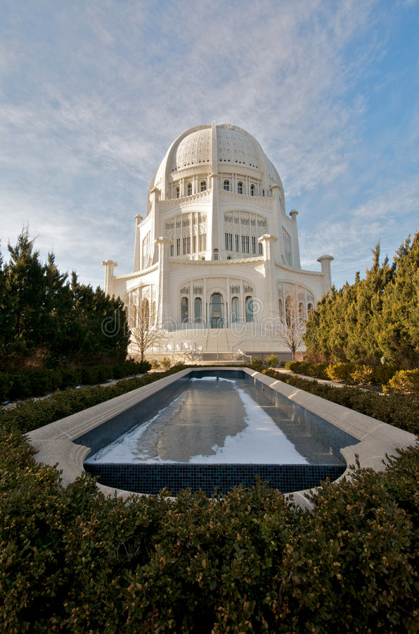 The Baha'i House of Worship in Chicago stock photo