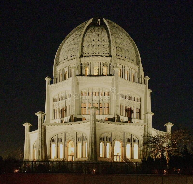 Baha'i House of Worship At Night #4. This is a winter picture of the historic Baha'i House of Worship located in Wilmette, Illinois in Cook County royalty free stock image