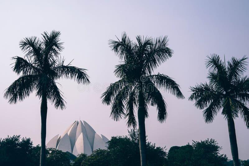 Baha'i temple in palm trees royalty free stock photos