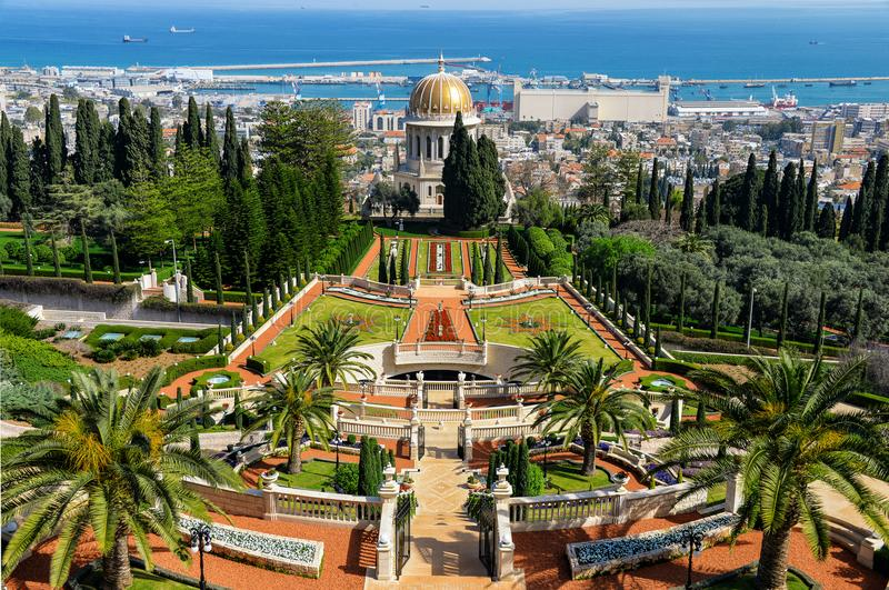 Baha`i World Centre. Gardens. Haifa, Israel stock images